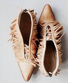 Leather Boots Fringes Ivory