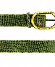 Green leather Belt Animal Print
