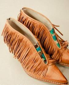 Leather Boots Fringes Terracotta