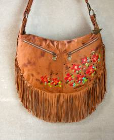 Luna Handbag With Art and Fringes