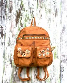 Backpack Jimena Caramel Flowers