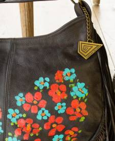 Moon Handbag With Art and Fringes