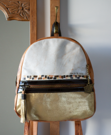 Triana Leather Backpack Gold