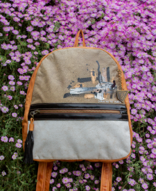 Triana Leather Backpack Beige