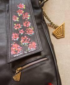 Andrea Black Handbag With Art