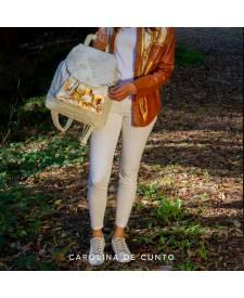 Leather backpack white AMIRA