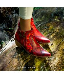 Eva Red Leather Boots