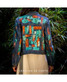 Jeans jacket with art turquoise