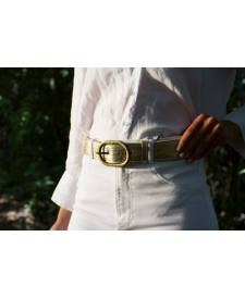 Leather belt gold