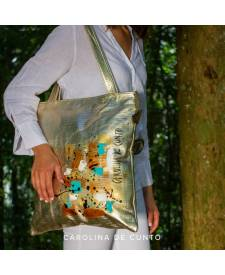 Leather bag gold Bruna with art