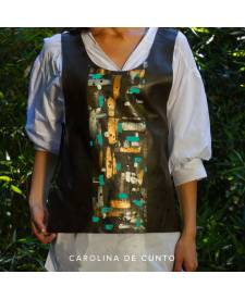 Leather vest with art Navajo