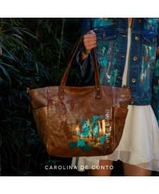 Leather Bag Zahara with art
