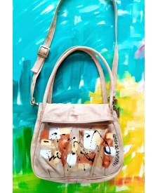 Bolson Ivory Handbag With Art