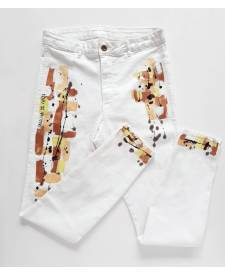 Jeans white with art
