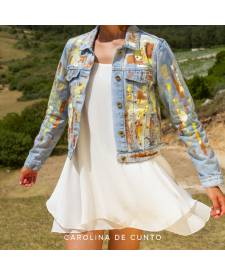 Jeans jacket with art