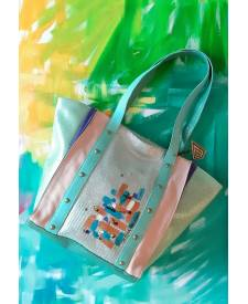 Kendra leather bag with art