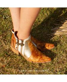 Leather boots Eva honey and turquoise art