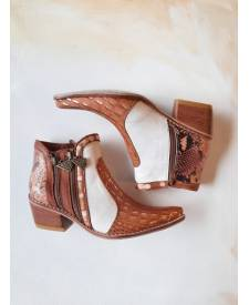 Leather boots Eva terracotta and gold