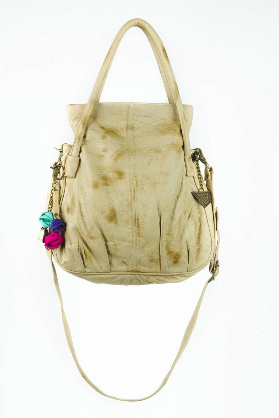 soft leather handbag in ivory color