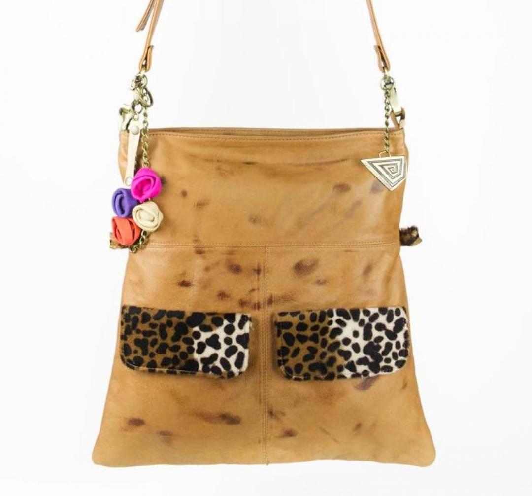 Leather cross body bag with animal print pockets.
