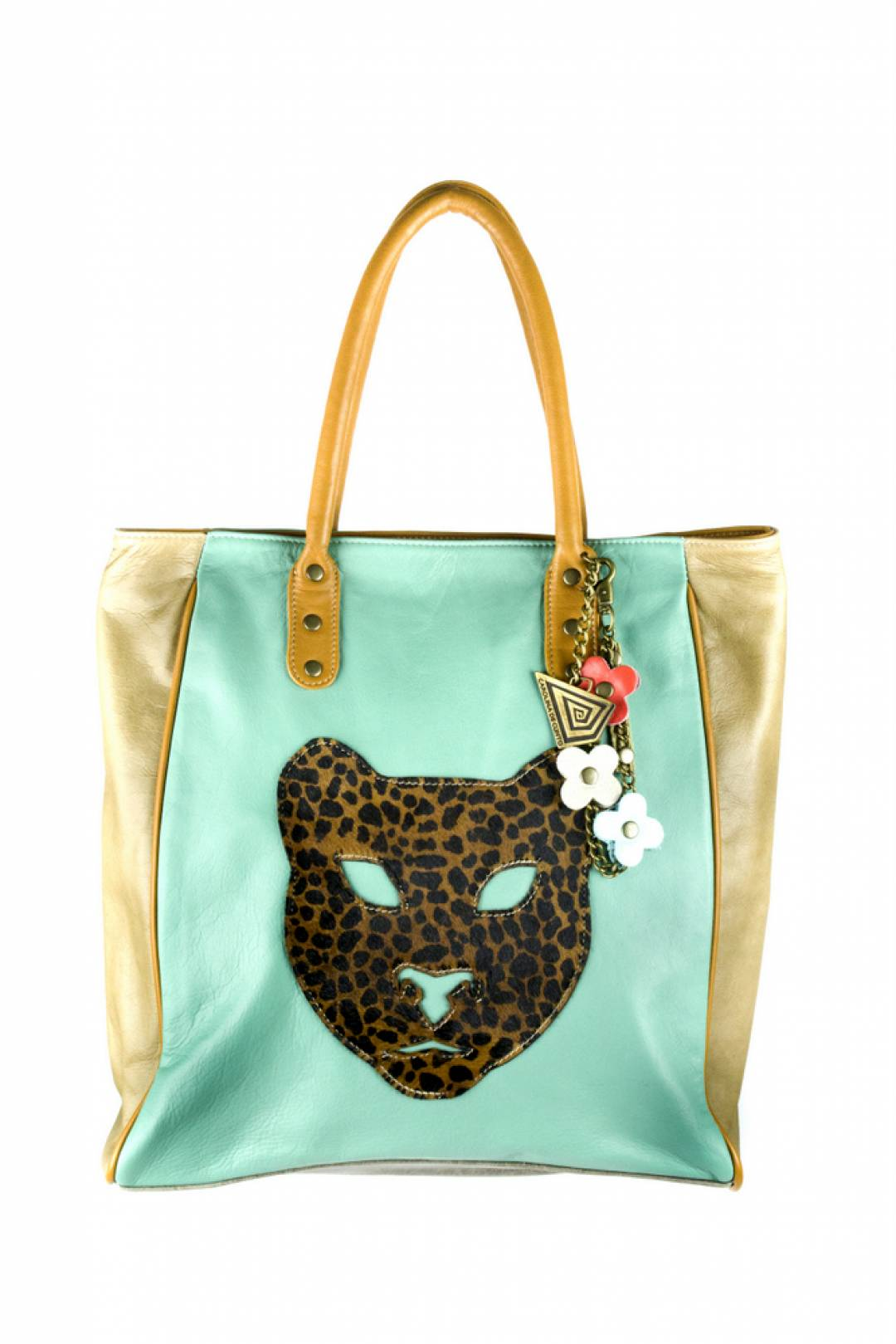 Julieta leather tote with animal print ornament.