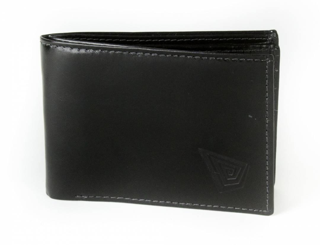 Black leather wallet for men.