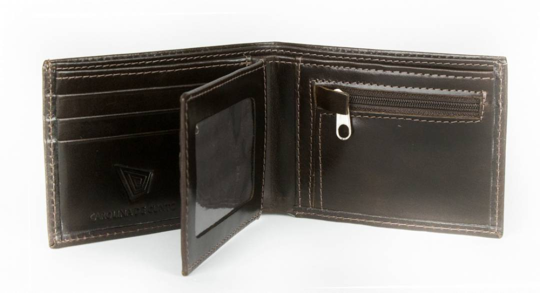 Brown leather wallet for men.