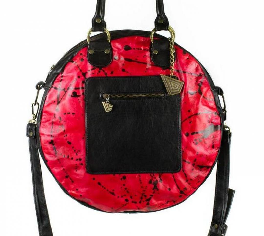 Redonda bag, black leather bag with art.