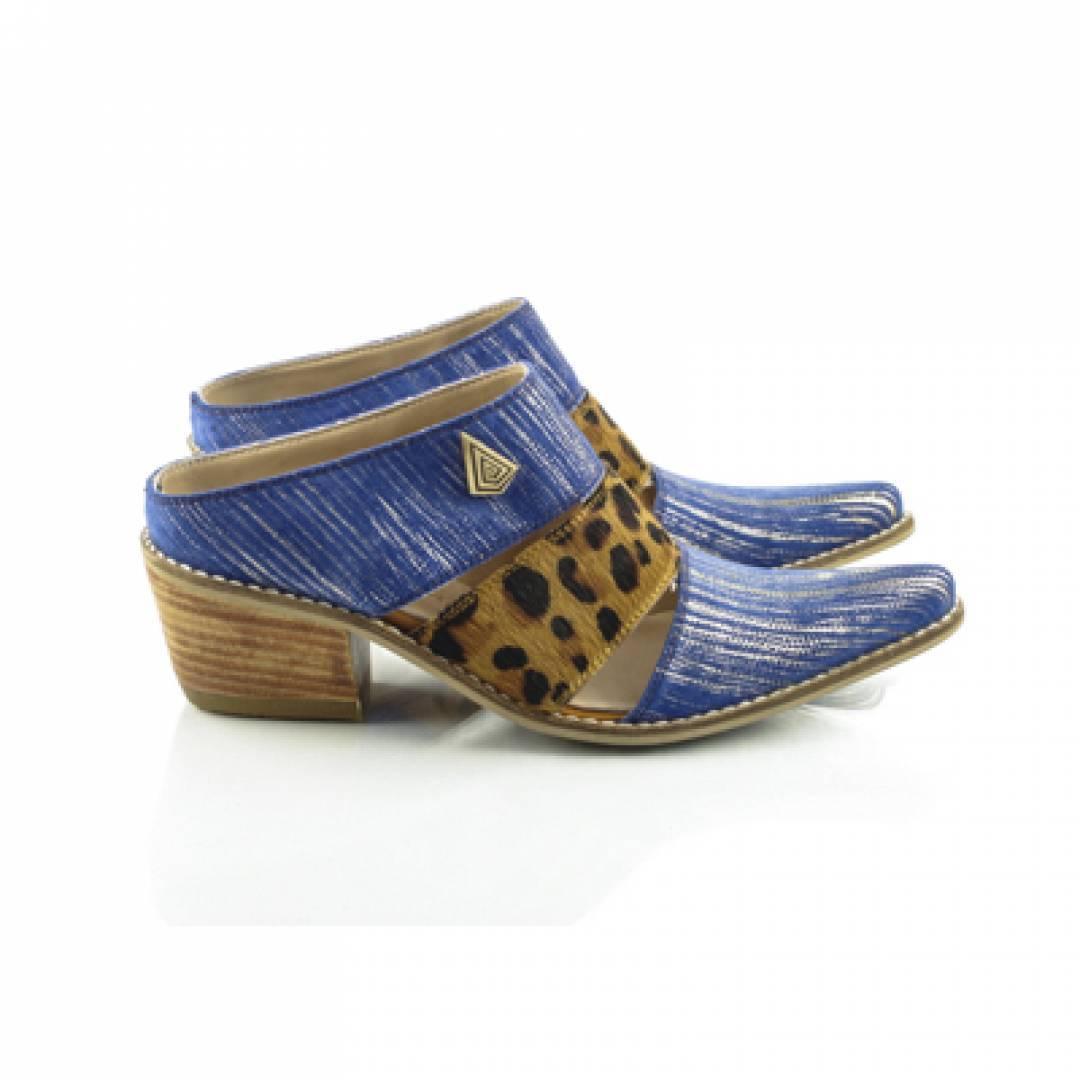 Blue leather clogs