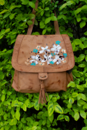 Iris Leather Backpack Flowers
