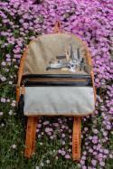 Triana Leather Backpack Beige